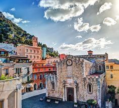 Beautiful aerial view of Taormina cathedral in Sicily, Italy | TOP 10 Places to Travel in September
