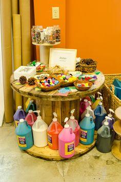 "Nice way to store art supplies at Global Village Preschool ("",)"