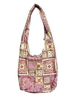 Hippie Boho Hobo Bohemian Vintage Crossbody Shoulder Strap Messenger Handbag Bag for Teens Women Men, Purple Square Pattern