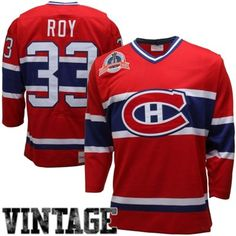 Mens Montreal Canadiens Patrick Roy Mitchell   Ness Red Throwback Authentic  Vintage Jersey 652dd4a5c