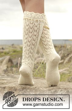 Marie Antoinette pattern by DROPS design Knitting Patterns Free, Knit Patterns, Free Knitting, Free Pattern, Lace Socks, Crochet Slippers, Knit Crochet, Drops Design, Marie Antoinette