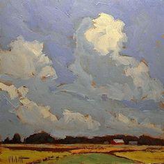 "Daily Paintworks - ""Farm Landscape Spring Sky Original Oil Painting  Contemporary Impressionism"" - Original Fine Art for Sale - © Heidi Malott"