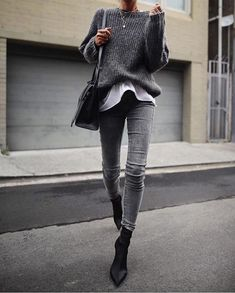 How to upgrade your style with neutral colors this fall gray sweater and jeans