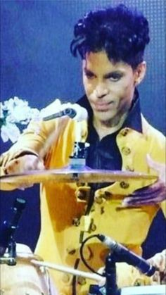 Prince, at the drums.