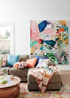 JUMBLED is an eclectic mix of all things gorgeous and wonderful for your home. Decorating Ideas For The Home Bedroom, Interior Decorating, Home Decor, Artwork For Living Room, Living Room Decor, Artwork For Home, Painting Inspiration, Interior Inspiration, Colourful Living Room