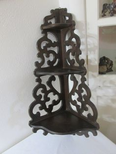 Vintage Corner Shelf Wood 3 Tier Scroll Work by LuRuUniques on Etsy