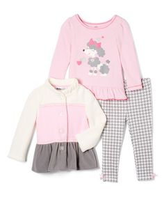 This Pink & Gray Color Block Jacket Set - Infant & Toddler is perfect! #zulilyfinds