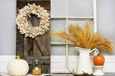 Lovely and Super Simple Neutral Fall Wreath.  You have to see what was used to make this -- it's not your typical fabric.