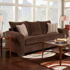 Make this brown microfiber sofa the centerpiece of your dream living room. (Matching Loveseat also available. Also available in Cream.) Harlow Sofa | Weekends Only Furniture and Mattress
