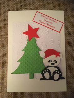 Christmas Card - Panda with Xmas Tree and Hat Handmade Handcrafted Greetings Card Great Grandson by ASCraftyCreaters on Etsy Christmas Cards, Merry Christmas, Christmas Ornaments, Santa Hat, Xmas Tree, Panda, Greeting Cards, Holiday Decor, Unique Jewelry