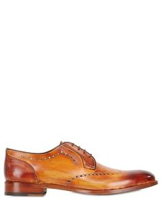 $349, Francesco Benigno Hand Painted Perforated Brogue Shoes. Sold by LUISAVIAROMA. Click for more info: https://lookastic.com/men/shop_items/144253/redirect