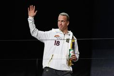 Peyton Manning #18 of the Denver Broncos is introduced at Super Bowl Opening Night Fueled by Gatorade at SAP Center on February 1, 2016 in San Jose, California.