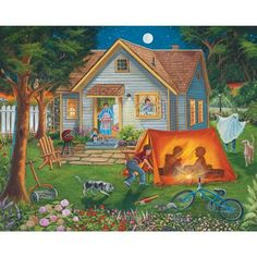 Bits and Pieces - 300 Large Piece Jigsaw Puzzle for Adults - Backyard Camping - Family Fun House Puzzle - by Artist Christine Carey - 300 pc Jigsaw Backyard Camping, Backyard House, Puzzle Art, Country Art, Family Camping, 500 Piece Jigsaw Puzzles, The Great Outdoors, Home Art, Vintage Art