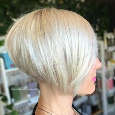 BOMBSHELL cut & color, sleek and sassy . Loving that tight stacking in the back thou  Haircut and styling by Kristina Dunn @hairbykristinamarie To have your hair featured please tag @bobbedhaircuts #bob #bobhaircut #shorthair #beauty #platinumbob #bobcut #ilovebobs #boblife #bobsfordays #myfavouritehair #angledbob #greatstylist #boblovers #stackedbob #fantasyhair #aline #stackedaline #platinumhaircolor #newhair #trendyhair #hairtrends #hairfashion #hairinspo
