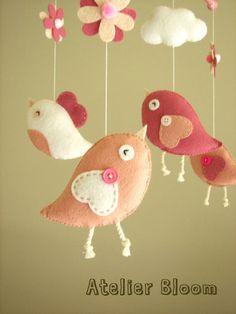 """Baby crib mobile, Bird mobile, girl mobile """"Bird - rose"""""""