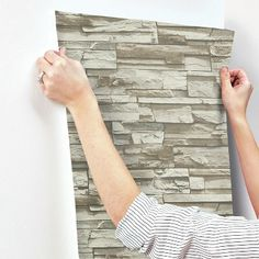 Natural Stacked Stone Peel And Stick Wallpaper Gray - RoomMates : Target Peel And Stick Tile, Stick On Tiles, Peel And Stick Wallpaper, Wallpaper Roll, Stone Wallpaper, Grey And Beige, Gray, Simple Wallpapers, Diy Wall Decor