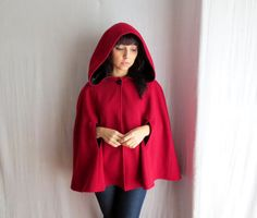 Little red riding hood - red cape wool cape winter fashion fairy tale cape coat on Etsy, $187.50