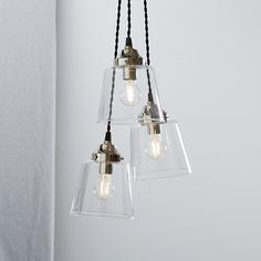Buy Tapered Glass Cluster Ceiling Light - from The White Company Glass Pendant Light, Ceiling Pendant, Pendant Lighting, Hall Lighting, Stair Lighting, Lighting Ideas, Bedroom Lighting, House Lighting, Glass Wall Lights