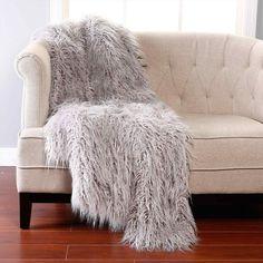 Furniture grey furry faux fur throw for modern interior decor cozy bedroom Grey Faux Fur Throw, Faux Fur Rug, Cute Dorm Ideas, Plaid Gris, Grey Throw Blanket, Throw Blankets, Fluffy Blankets, Fur Blanket, Throw Rugs