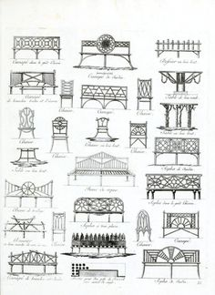 Bench design for front garden Vintage Printable at Swivelchair Media - Beta | Design – Architectural – Garden