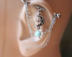 Industrial Barbell Ear Piercing-Earring Jewelry-Dangle Silver Chains-Surgical Steel-14g-14 G Gauge-Larimar Stone and Moon (m2d)