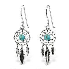 47dba8198 Earrings, Stud, 925 Sterling Silver Hypoallergenic Dream Catcher & Dangling  Feathers w/ Turquoise Fishhook Earrings 30827 -