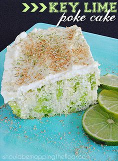 Key Lime Poke Cake: uses a boxed cake mix made super moist with fresh lime juice and Jell-o. Topped with fresh whipping cream for a lovely, summery treat.