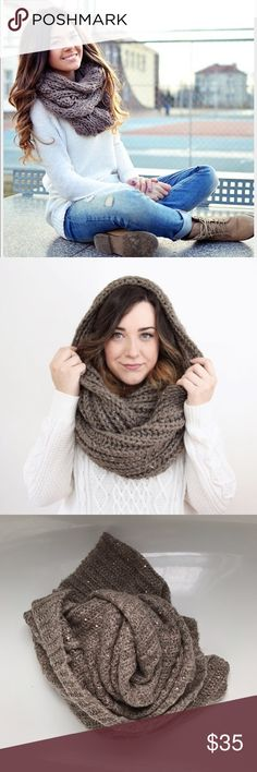 NWOT Light Taupe Sequin Knit Infinity Scarf Listing is for one new without tags (NWOT) light taupe sequin knit infinity scarf.  Beautiful, warm and versatile.  Cover photos for style reference only.  Minor snags/fraying may be present as all knit scarves are prone too even in storage.  Nothing noticeable up front.  Smoke free home.  Not interested in trades. Accessories Scarves & Wraps