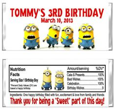 Despicable Me Birthday Party Candy Wrappers Favors Custom Personalized @ http://lightingworldbay.com for more information - you may need to look around the site