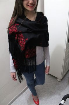 This is a warm, thick scarf with embroidered patterns on the sides. It comes in classic red. This is made by Palestinian women where embroidery is a tradition. Hand Embroidery Flowers, Ribbon Embroidery, Ukrainian Dress, Arabic Dress, Palestinian Embroidery, Pilates Workout, Cross Stitches, Couture, Palestine