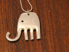 Vintage Silverware Fork Elephant Pendant by meDesignsbyMelanie