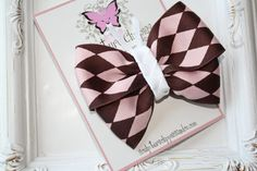 Pink Brown Diamond Butterfly Bow Pink by SculptureClippiesNCo
