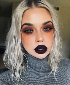 Fall is in the air  @laurenrohrer is wearing NIGHTSHADE from the Slither Trio on lips and #VENUS on eyes. Get the look on limecrime.com.