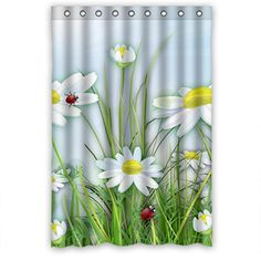 Cartoon White Flower Daisy Lady Bugs High Quality Fabric Bathroom Shower Curtain 48 x 72 Inches Shower Curtain http://www.amazon.com/dp/B00P26GL0U/ref=cm_sw_r_pi_dp_-LYnvb1VJKF2X
