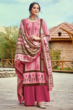 Delicate Pink Printed And Embroidered Wool Pashmina Plazzo Suit And Dupatta Pakistani Suits Online, Salwar Suits Online, Pakistani Dress Design, Pakistani Dresses, Plazzo Suits, Cotton Anarkali, Palazzo Style, Suits Online Shopping