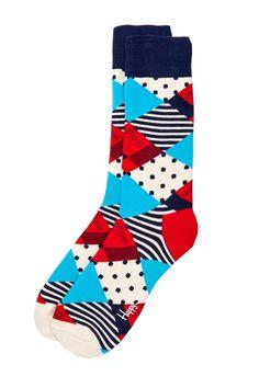 Happy Socks Stripe and Dot Diamond Sock by Non Specific on Funky Socks, Crazy Socks, Colorful Socks, Cool Socks For Men, Orange Socks, Kids Socks, Men's Socks, Custom Socks, Underwear