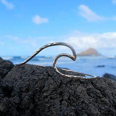 Silver Wave Bangle, Hammered Bracelet, Surfer Girl, Hawaii Beach Jewelry, Ocean,  Surf Fashion