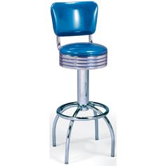 "50's Diner Stool with Arch Leg and Back. Availability: Build to Order. Minimum order of 6. This 50's Arch Leg Diner Stool with swivel seat and back is a classic soda fountain look for your diner. Available seat heights: 24"" or 30"" Seat diameter: 14"" Grade 1 Vinyl Available in Chrome finish only Zodiac Vinyl available at additional cost. Lifetime structural frame warranty."