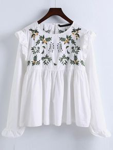 White+Embroidery+Ruffle+Trim+Pleated+Blouse+