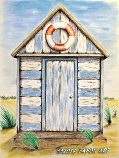 Beach Hut pastel chalks drawing by TAFOXART on DeviantArt - Summertrends. Beach Huts Art, Beach Art, Chalk Drawings, Pencil Drawings, Beach Drawing, Deco Marine, Beach Cabana, House Drawing, Coastal Art