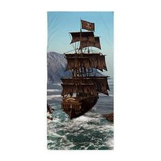 Gatterwe: Pirate Ship Shower Curtain: a pirate ship sails through the coastal in strong winds Pirate Bathroom, Black And White Tree, Walking The Plank, Out To Sea, Pirate Life, Tall Ships, Fantasy Artwork, Sailing Ships, Coastal