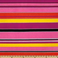 Stretch ITY Jersey Knit Stripes Tomato/Hot Pink