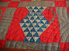 Detail, Primitive Antique Hand Stitched Country Pitcher Quilt | eBay, bgrboots