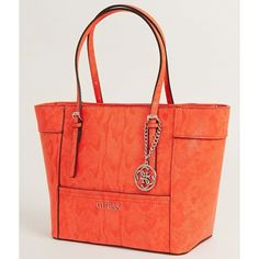 Guess Delaney Purse ($88) ❤ liked on Polyvore featuring bags, handbags, orange, red bags, man bag, orange purse, guess handbags and guess bags