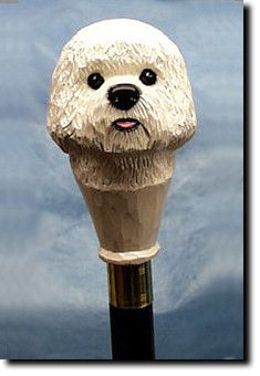 Bichon Frise Dog Walking Stick Our unique selection of handpainted Dog Breed Walking Sticks is sure to please the most discriminating Dog Lover! Be the envy of everyone with this unique canine walking