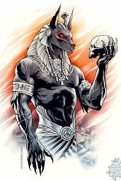 Foto Fantasy, Dark Fantasy Art, Egyptian Symbols, Egyptian Art, Gott Tattoos, Anubis Drawing, Egyptian Drawings, Egyptian Tattoo Sleeve, Anubis Tattoo