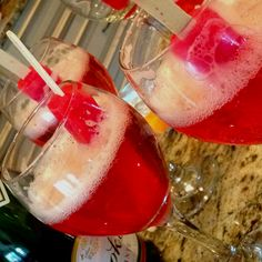 4th of July drink!  Champaign and cherry Popsicles!  The Popsicles turn the champaign red!
