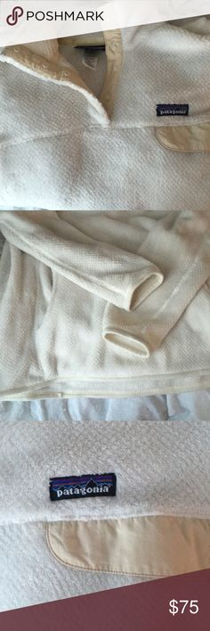Patagonia Women's Re-Tool Snap-T Pullover cream and white. in great condition! Patagonia Jackets & Coats