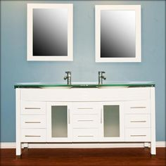 63 inch White Wood & Glass Double Sink Vanity Set with Polished Chrome Faucets