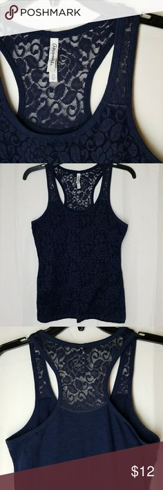 Aeropostal Tank Razor back, lace look front but solid back.  Lace Fabric 55%polyester 43%nylon 2%spandex Jersey Fabric 60%cotton , 40%polyester Aeropostale Tops Tank Tops